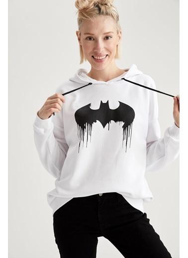 DeFacto Batman Lisanslı Sweatshirt Beyaz
